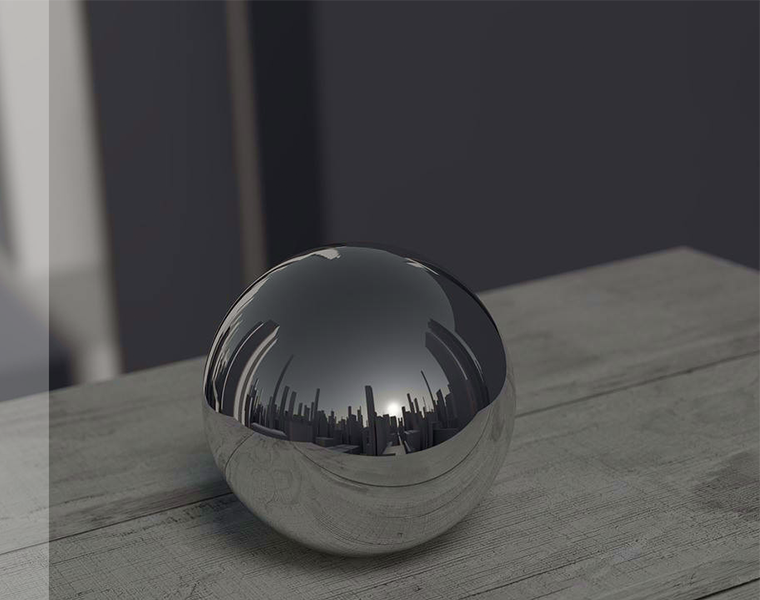 Smart city illustration: reflection of a city in a ball